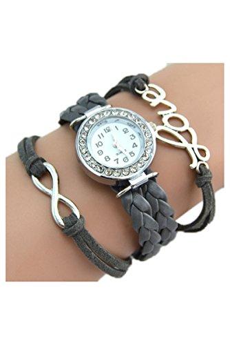 Strass Uhr SODIAL R Armbanduhr Strass Uhr mit Unendlichkeit Love Charm grau