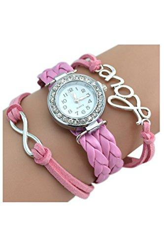 Strass Uhr SODIAL R Armbanduhr Strass Uhr mit Unendlichkeit Love Charm rosa