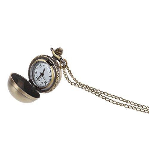 Taschenuhr Halskette SODIAL R Retro Kugel Metall Quarz Halskette Anhaenger Kette Taschenuhr Halskette Bronzefarbe