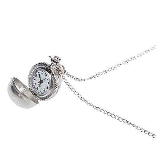 Taschenuhr Halskette SODIAL R Retro Kugel Metall Quarz Halskette Anhaenger Kette Taschenuhr Halskette silber