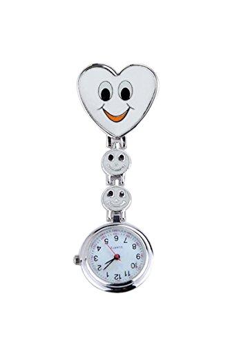 Taschenuhr SODIAL R Neue Maedchen Suesses Laecheln Uhr mit Herz Anhaenger Krankenschwester Uhr Schwester Taschenuhr schoenes Geschenk Weiss