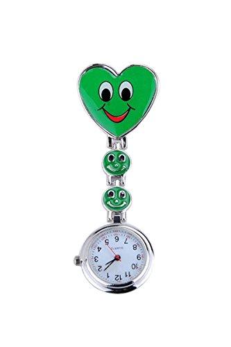 Taschenuhr SODIAL R Neue Maedchen Suesses Laecheln Uhr mit Herz Anhaenger Krankenschwester Uhr Schwester Taschenuhr schoenes Geschenk Gruen