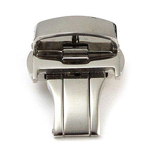 UHR schnalle SODIAL R Einsatz Schmetterling Verschluss UHR schnalle Edelstahl Lederband Band 20mm Silber