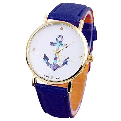 Uhr SODIAL R Damen Weinlese Blumen Uhr Anchor Leder Quarz Uhr Blau
