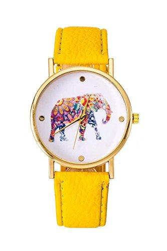 Uhr SODIAL R Frauen Studentens Elefant Muster Uhr gelb