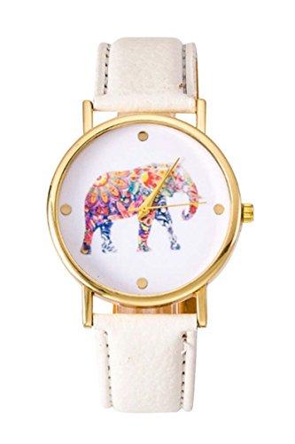 Uhr SODIAL R Frauen Studentens Elefant Muster Uhr weiss