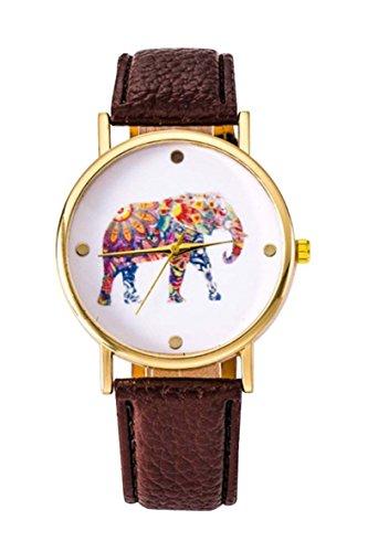 Uhr SODIAL R Frauen Studentens Elefant Muster Uhr Braun