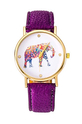 Uhr SODIAL R Frauen Studentens Elefant Muster Uhr lila