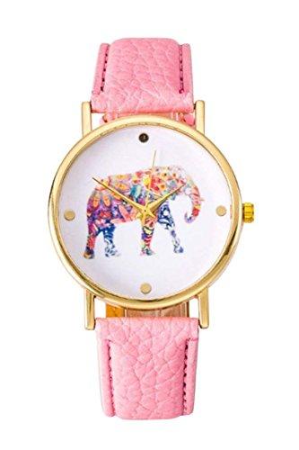 Uhr SODIAL R Frauen Studentens Elefant Muster Uhr rosa