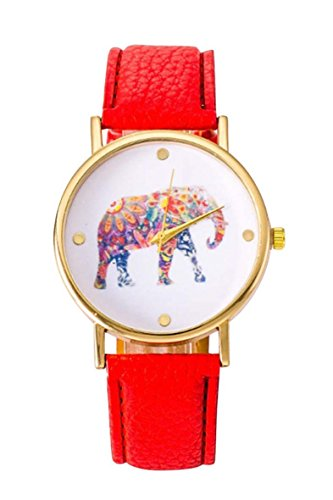 Uhr SODIAL R Frauen Studentens Elefant Muster Uhr rot
