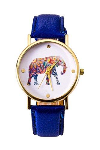 Uhr SODIAL R Frauen Studentens Elefant Muster Uhr Dunkelblau