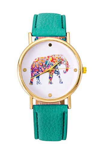 Uhr SODIAL R Frauen Studentens Elefant Muster Uhr mintgruen