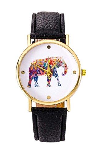 Uhr SODIAL R Frauen Studentens Elefant Muster Uhr schwarz