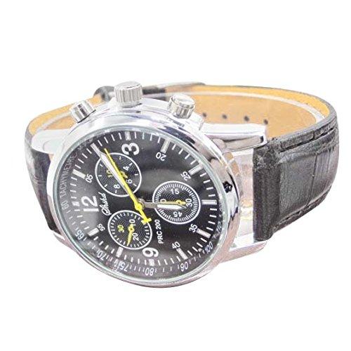 Uhren SODIAL R Uhren Neue Luxusmode Krokodil Leder Herren Analog Uhr Uhren Schwarz