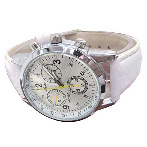 Uhren SODIAL R Uhren Neue Luxusmode Krokodil Leder Herren Analog Uhr Uhren Weiss