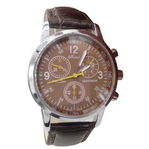 Uhren SODIAL R Uhren Neue Luxusmode Krokodil Leder Herren Analog Uhr Uhren Braun
