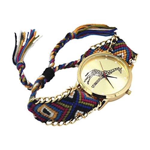 weiblich Armband Uhr SODIAL R weiblich Giraffe Muster weben Armband Uhr 11