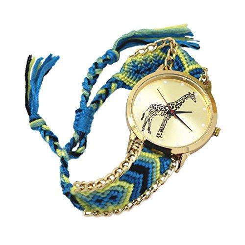 weiblich Armband Uhr SODIAL R weiblich Giraffe Muster weben Armband Uhr 5