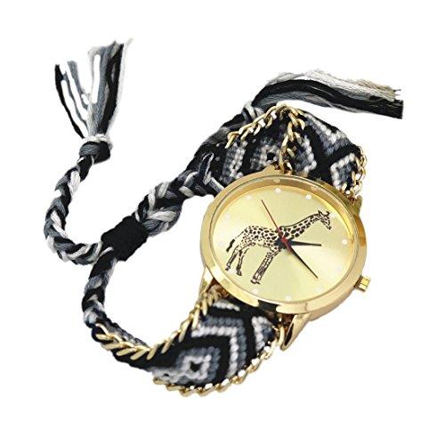 weiblich Armband Uhr SODIAL R weiblich Giraffe Muster weben Armband Uhr 4