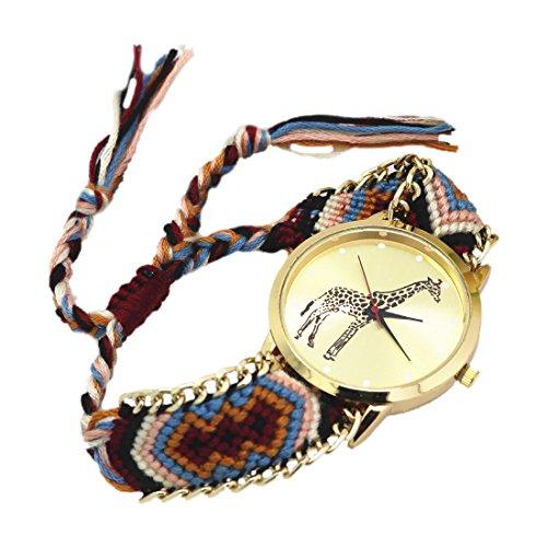 weiblich Armband Uhr SODIAL R weiblich Giraffe Muster weben Armband Uhr 2