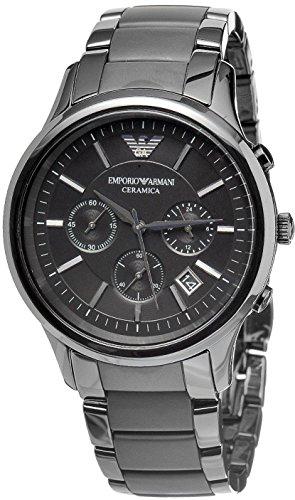 Emporio Armani AR1452 Herren Armbanduhr Quarz schwarzes Zifferblatt Keramik matt Chronograph
