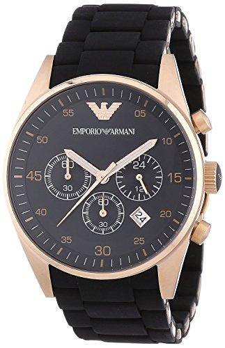 Emporio Armani AR5905 Herren Silikon Edelstahl Rose Gold Sport Quarz Chronograph
