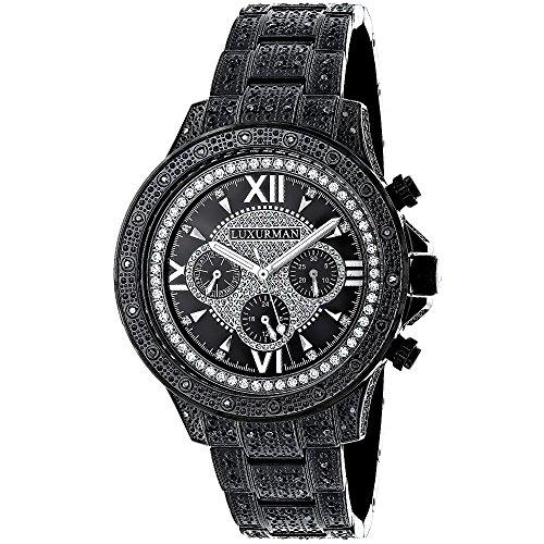 Mens Black Diamond Luxurman Watch 1 25ct Iced Out