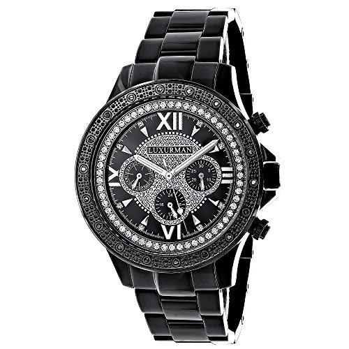 Mens Black Diamond Watch LUXURMAN 0 20ct Black Steel Band