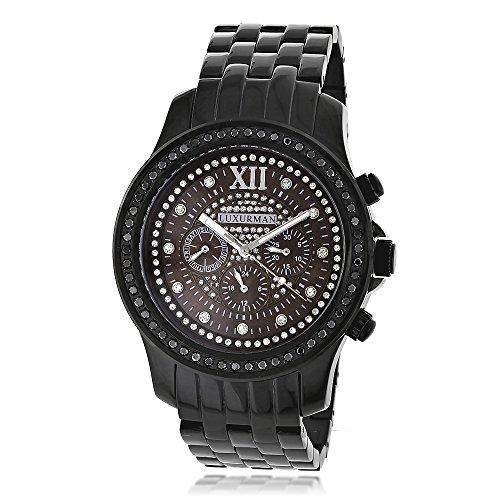 Mens Black Diamond Watches by LUXURMAN 2 25ct