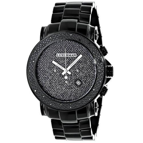 Black Diamond Watches Oversized Mens Diamond Watch by LUXURMAN 0 25ct