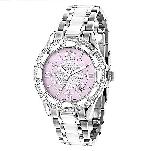 White Ceramic Womens Diamond Watch 1 25ct Pink MOP LUXURMAN Galaxy