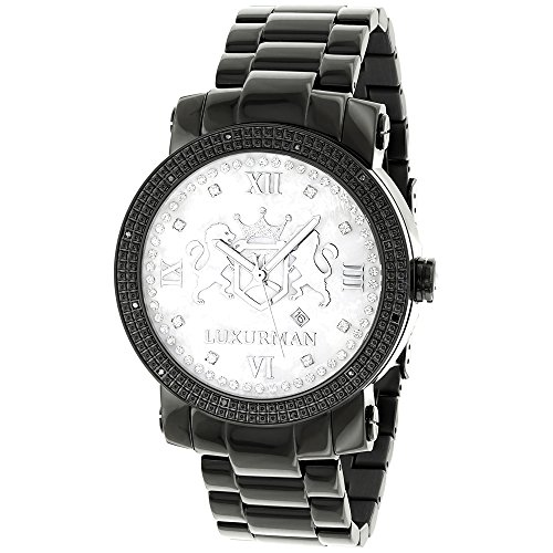 Designer Large Watches LUXURMAN Phantom Black Diamond Watch for Men 0 12ct with 2 Extra Leather Bands