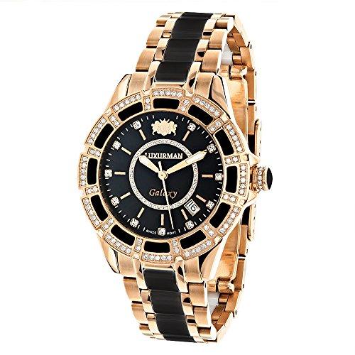 Diamond Mens Womens Black Ceramic Watches Rose Gold Pltd LUXURMAN Galaxy Swiss Mvt Watch