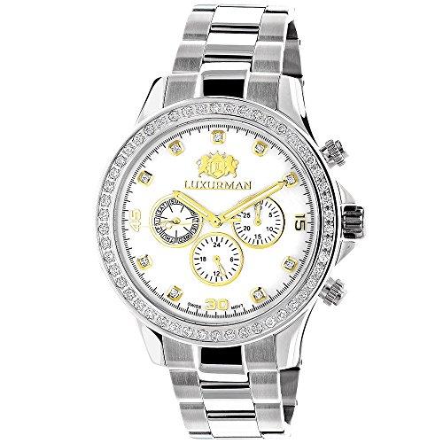 2 Carat Two Tone Mens Diamond LUXURMAN Liberty Watch w Swiss Movement Stainless Steel Band
