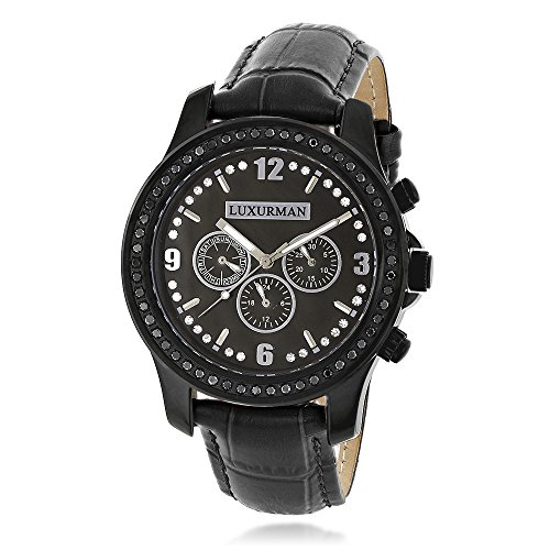 Mens Black Diamond Watch by LUXURMAN Raptor 2 25ct Black MOP and Leather Band
