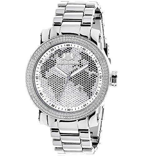 Mens Diamond Watch 0 12 ct Luxurman Black White Map