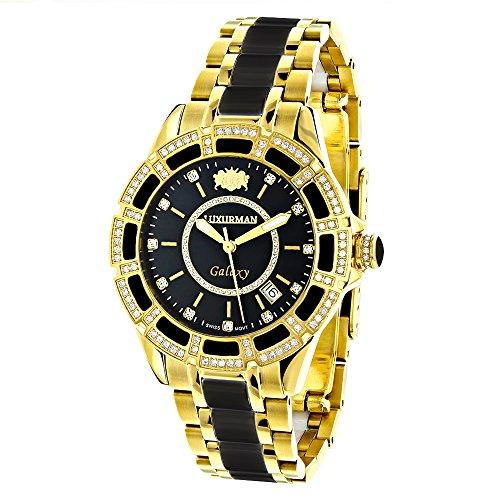 Diamond Mens Womens Black Ceramic Watches Yellow Gold Pld Luxurman Galaxy