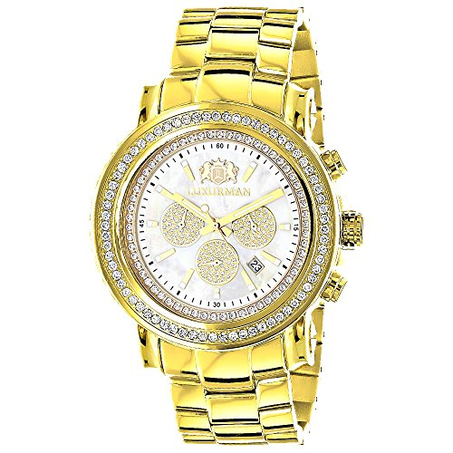 Large Diamond Bezel Watch for Men Yellow Gold Plated with Chronograph 2 5c LUXURMAN Escalade