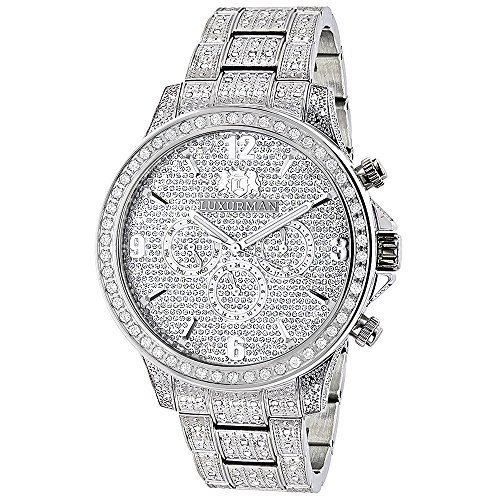 Fully Iced Out Watches LUXURMAN Mens Diamond Watch 3 carats Liberty