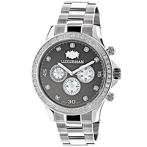 Genuine Diamond Watches For Men 2ct LUXURMAN Liberty Watch Swiss Quartz w Stainless Steel Band