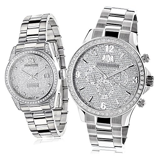 His and Hers Watches Stainless Steel Luxurman Diamond Watch Set 3 5ct