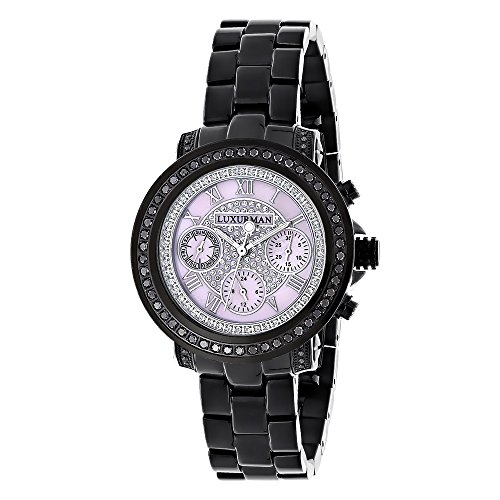 Ladies Diamond Watches LUXURMAN Black Diamond Watch 2 15 carats