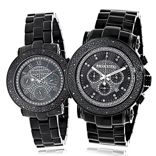 Large Matching His and Hers Watches Black Diamond Luxurman Watch Set 0 55ct