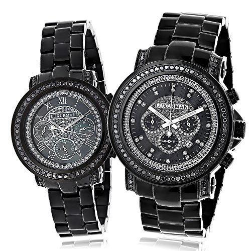 Large Matching His and Hers Watches Black Diamond Watch Set by Luxurman 5 15ct