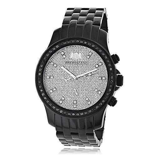 Luxurman Black Diamond Watch 2 25ct Mens