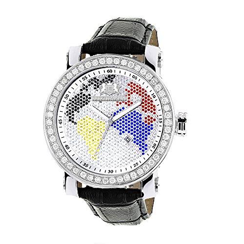 LUXURMAN Mens Continents VS Diamond Bezel Watch 4 ct