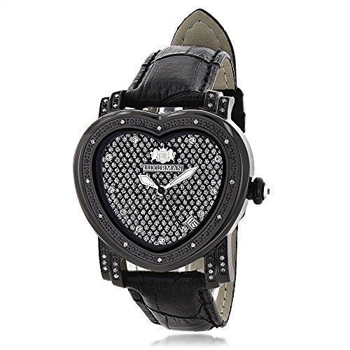 LUXURMAN Diamond Heart Watch 0 25ct Black