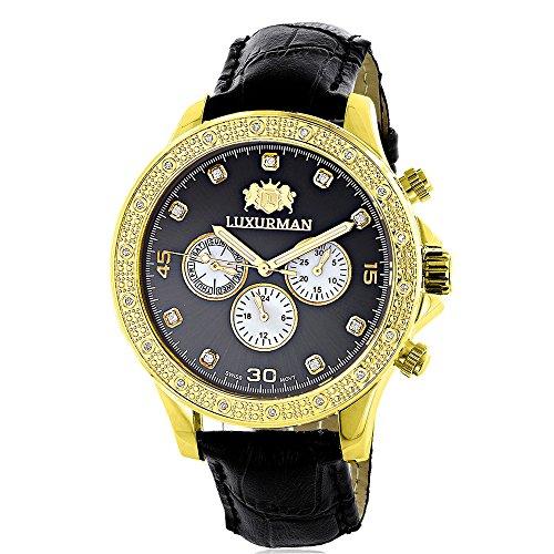 Luxurman Mens Diamond Watch 0 2ct Black MOP Liberty 18k Yellow Gold Plated Swiss Movement w Leather Band
