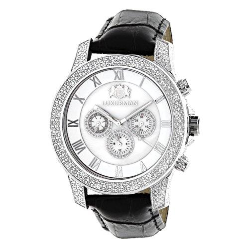 LUXURMAN Mens Diamond Watch 0 5ct White MOP Freeze