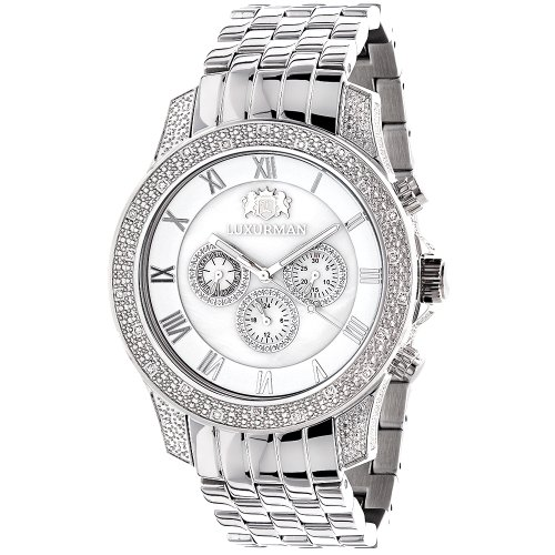 LUXURMAN Mens Diamond Watch 0 5ct Midsize